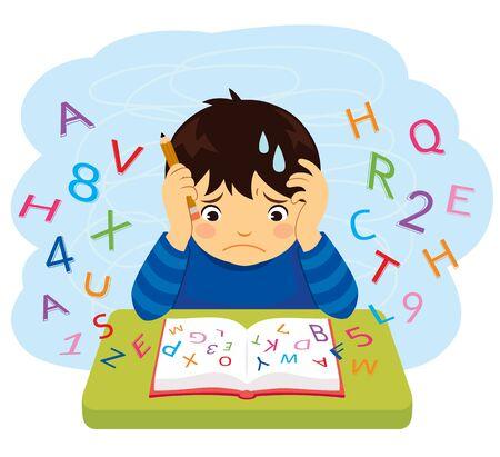 Niño confundido mirando letras y números volando de un libro