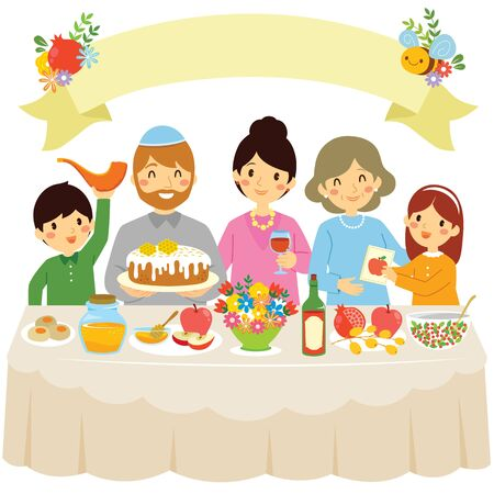 Happy family celebrating Rosh Hashanah or the Jewish New Year in a traditional dinner with the holiday symbols.