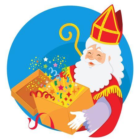 Happy cartoon Sinterklaas holding a magical box of surprises  イラスト・ベクター素材