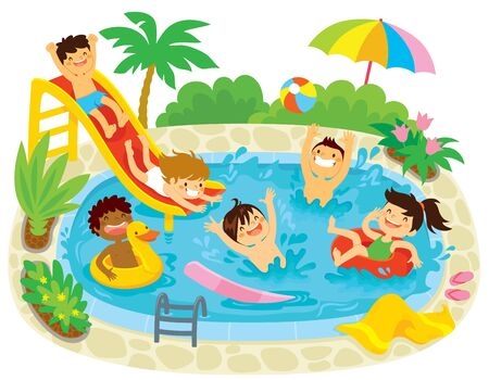 Kids having fun in a swimming pool with a water slide and floaties