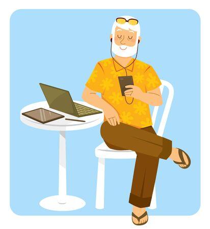 Glücklicher älterer Mann, der mit Leichtigkeit elektronische Geräte verwendet. Vektorgrafik