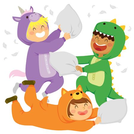 Kids having a pillow fight while wearing   jumpsuits.  イラスト・ベクター素材