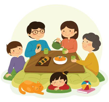 Japanese family sitting around the kotatsu table and drinking tea. Illusztráció