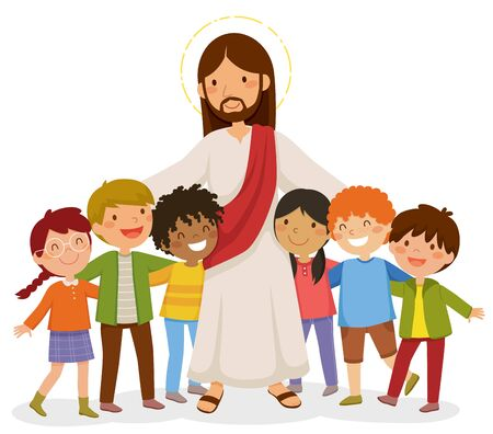 Cartoon Jesus steht und umarmt glückliche Kinder