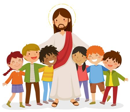 Cartoon Jesus standing and hugging happy kids