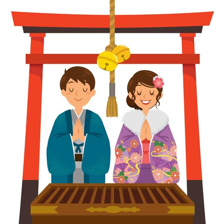 Hatsumode tradition in Japan. Young Japanese couple wearing kimono praying in a shrine under a red torii gate on New Year. Ilustracje wektorowe