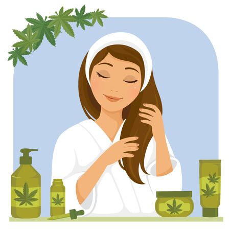 Young woman using hair products made of hemp or cannabis oil
