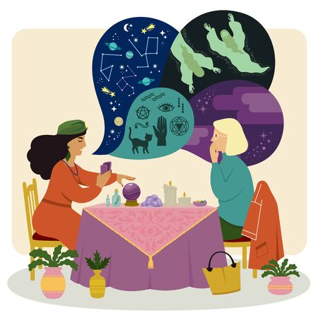 Fortune teller talking to a woman about astrology, spirits and occultism while using a crystal ball and other psychic tools. Illusztráció