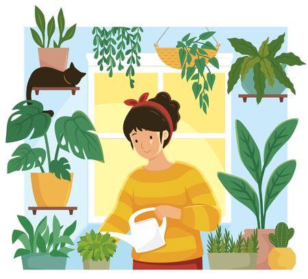 Young woman watering plants in an indoor home garden Illusztráció