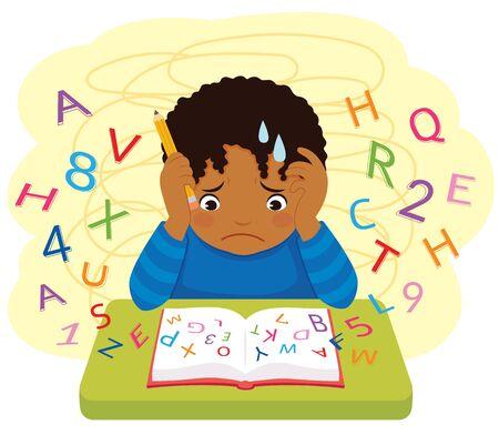 Dislexia y dificultades de aprendizaje. Niño confundido de piel oscura mirando letras y números volando de un libro. Ilustración de vector