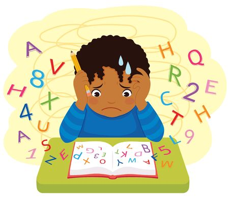 Dyslexia and learning difficulties. Dark skinned confused kid looking at letters and numbers flying out of a book.