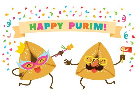 Cartoon Purim Hamantashen or Oznei Haman wearing masks and dancing Happily under the text Happy Purim. Illusztráció