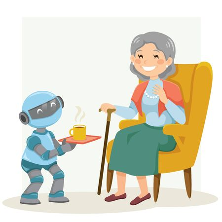Elder care robot serving tea to a smiling senior woman