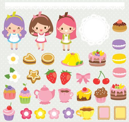 Cute food clipart set with girls, sweets, cakes, teacups and lace ornaments