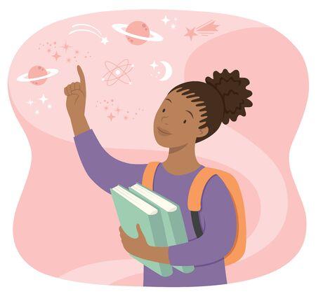 Joven colegiala negra sosteniendo libros y apuntando a las estrellas