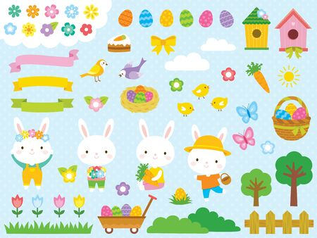 Easter clip art set with cute Easter bunnies, Easter eggs and other spring related illustrations.