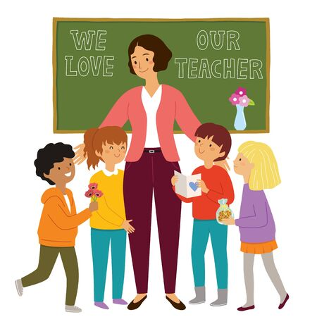 Teachers day at school. Kids give flowers and presents to their loving teacher and show their appreciation.