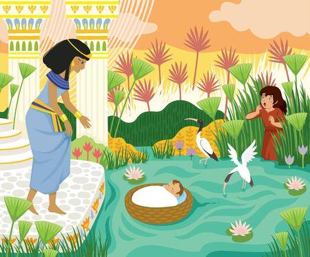 Histoire biblique de la Pâque du bébé Moïse dans le panier flottant sur le Nil vers la fille de Pharaon avec sa sœur Miriam regardant derrière le papyrus.