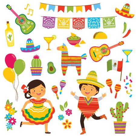 Cinco de Mayo clipart set with kids in traditional Mexican costumes and a collection of the holiday symbols Illusztráció