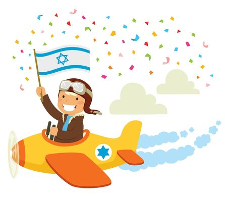 Israeli Independence Day celebration. Pilot flying an airplane with the Israeli flag in a traditional flypast. Illusztráció