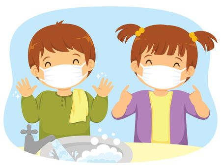 Kids wearing medical masks and washing their hands as protection measures against Covid-19 coronavirus infection.