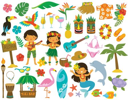 Tropical clipart set. Hawaii, beach and summer related items. Illustration