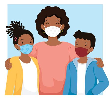 Black mom and kids wearing face masks to protect against coronavirus and other infection.