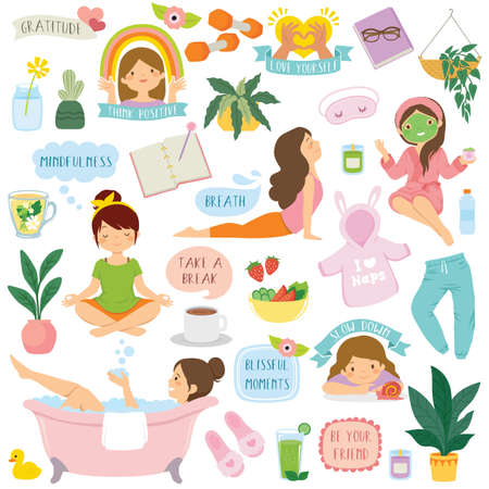 Self care and wellbeing clipart set. Cartoon girls, icons and typography related to healthy lifestyle, relaxation, positivity, and self love.