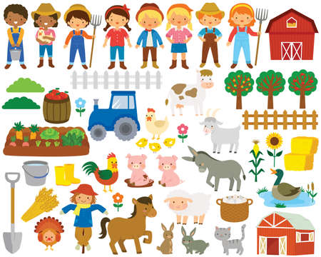 Farm life clipart set. Big collection of farm animals, farmers and items related to farming and agriculture.