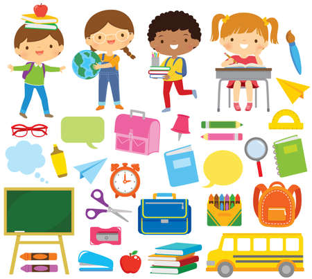School kids and school supplies clipart set. Blackboard, notebooks, pencils and other school related items over white background.