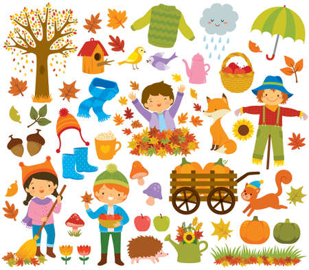 Autumn clipart set with kids, autumn leaves, forest animals and other symbols of fall. Illusztráció
