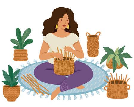 Woman weaving DIY baskets on the ground surrounded by handmade wicker baskets and plants