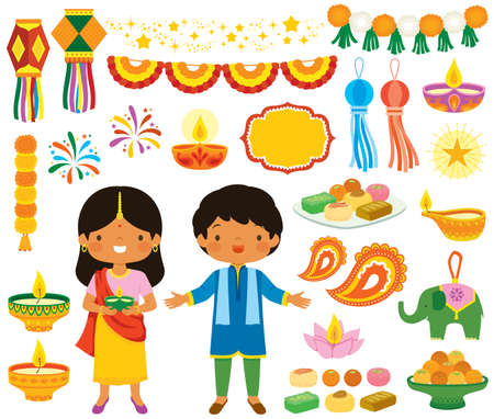 Diwali clipart set. Various symbols of the Indian festival of lights with children, oil lamps, decorations and traditional sweets.
