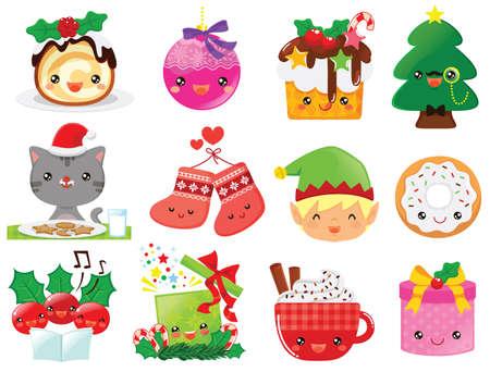 Christmas cartoons clip art set. Cute kawaii cartoon characters of the holiday symbols – Christmas tree, presents, decorations, cakes and Santa's elf. Illustration