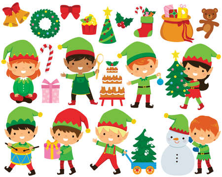 Christmas elves clipart set. Cute Santa's elves in different poses and a collection of Christmas illustrations. Illusztráció