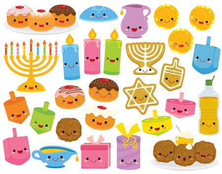Hanukkah cartoons set. Cute clipart collection of cartoon Hanukkah symbols with smiling faces. Illusztráció