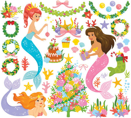 Mermaid Christmas clipart set. Magical under the sea Christmas concept with a colorful coral Christmas tree.