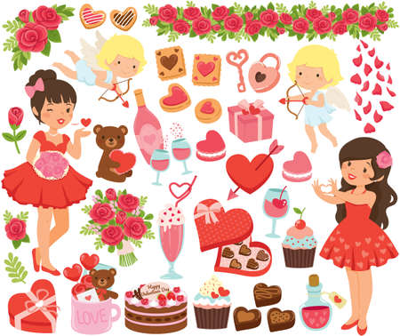 Valentines Clipart set. Cute cartoon girls, cupids and love symbols for Valentines Day.