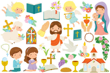 Christianity clipart bundle. Various religious symbols and cartoon characters of Jesus, Mary, cute angels and praying kids.