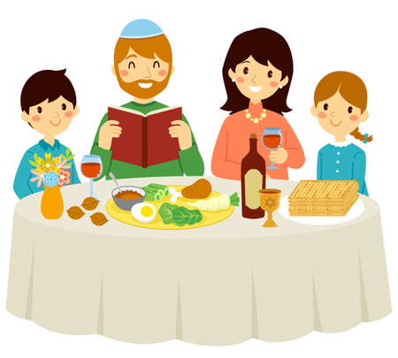Passover with the core family. Small family having a Jewish Passover Seder at home.