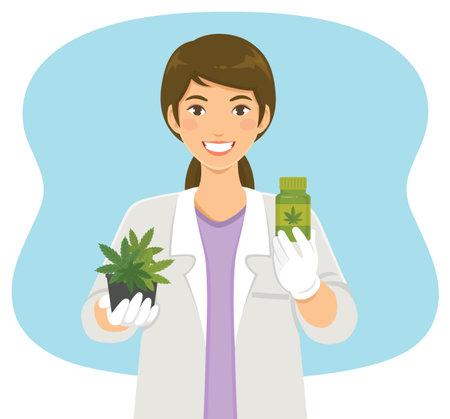Cannabis in medical use. Scientist holding marijuana plant and medicine made of hemp. Illusztráció