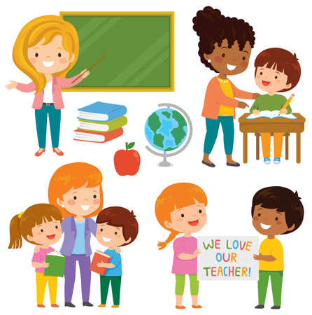 Teachers and kids at school. Cute happy teachers and their loving students learning together in the classroom.