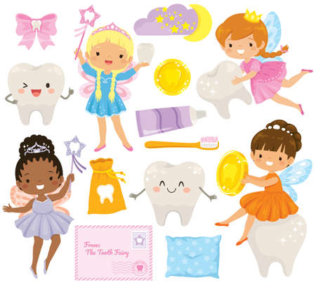 Tooth Fairy clipart bundle. Cute cartoon tooth fairies, smiling teeth, and dental care elements.