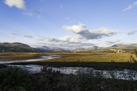 View of Mount Snowdon from Traeth Glaslyn nature reserve, North Wales Stock Photo