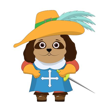 Funny cartoon character. Musketeer dog in a hat with feathers, boots, gloves and a sword. Illustration isolated on white background. Çizim