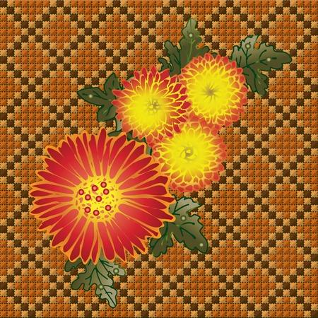 punto de cruz: Ramo amarillo de los crisantemos. Cuatro vectores de crisantemos sobre fondo hechas por DMC.