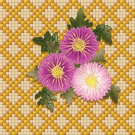punto de cruz: Bouquet de los crisantemos. Tres vectores de crisantemos sobre fondo hechas por DMC.