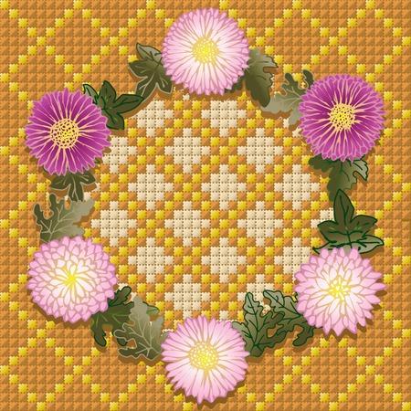 punto de cruz: Corona de crisantemos violetas. Guirnalda con crisantemos sobre fondo hechas por DMC.  Vectores