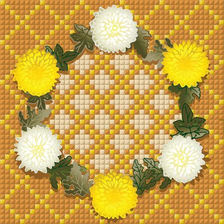 punto de cruz: Corona de crisantemos amarillos. Guirnalda con crisantemos sobre fondo hechas por DMC.