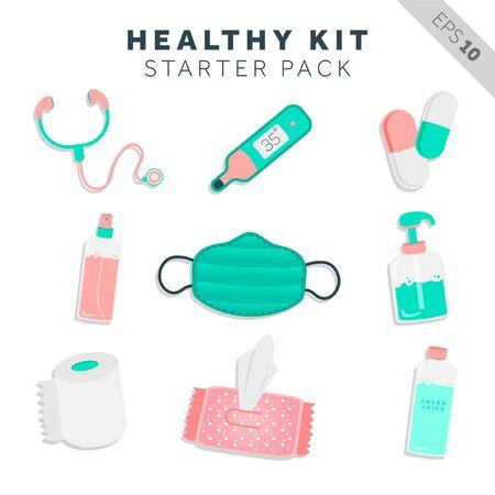 healthy kit starter pack illustration, vector